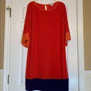 Kim Rogers coral color block dress